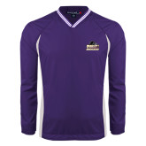 Colorblock V Neck Purple/White Raglan Windshirt-Athletic Directors Club