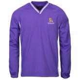 Colorblock V Neck Purple/White Raglan Windshirt-PVAM Stacked