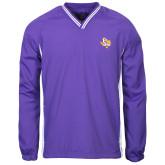 Colorblock V Neck Purple/White Raglan Windshirt-PVAM Texas