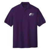 Purple Easycare Pique Polo-Black Fox Logo