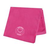 Pink Beach Towel-Marching Storm Cloud Circle