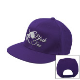 Purple Flat Bill Snapback Hat-Black Fox Logo