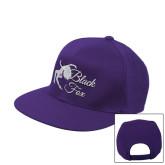 Purple Twill Flat Bill Snapback Hat-Black Fox Logo