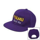 Purple Twill Flat Bill Snapback Hat-PVAMU Black Fox Script