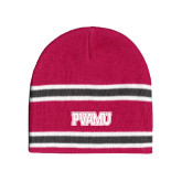 Pink/Graphite/White Striped Knit Beanie-PVAMU
