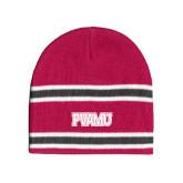Pink/Charcoal/White Striped Knit Beanie-PVAMU