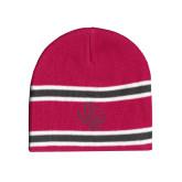 Pink/Charcoal/White Striped Knit Beanie-PVAM Texas