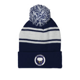 Navy/White Two Tone Knit Pom Beanie with Cuff-Marching Storm Cloud Circle