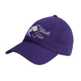 Purple Twill Unstructured Low Profile Hat-Black Fox Logo