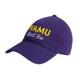 Purple Twill Unstructured Low Profile Hat-PVAMU Black Fox Script