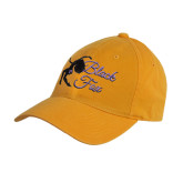 Gold Twill Unstructured Low Profile Hat-Black Fox Logo