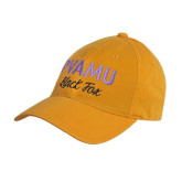 Gold Twill Unstructured Low Profile Hat-PVAMU Black Fox Script