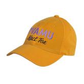 Gold Twill Unstructured Low Profile Hat-PVAMU Black Fox Script