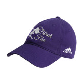Adidas Purple Slouch Unstructured Low Profile Hat-Black Fox Logo