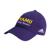 Adidas Purple Slouch Unstructured Low Profile Hat-PVAMU Twirling Thunder Script