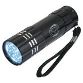 Industrial Triple LED Black Flashlight-Marching Storm Cloud Circle Engraved