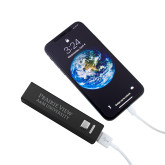 Aluminum Black Power Bank-Word Mark Stacked  Engraved