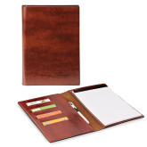 Fabrizio Junior Brown Padfolio-PVAMU Twirling Thunder Logo Engraved