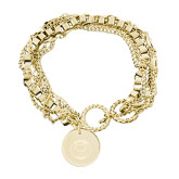 Olivia Sorelle Gold Round Pendant Multi strand Bracelet-Marching Storm Cloud Circle Engraved
