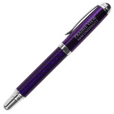 Carbon Fiber Purple Rollerball Pen-Word Mark Stacked  Engraved