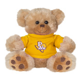 Plush Big Paw 8 1/2 inch Brown Bear w/Gold Shirt-PVAM Texas