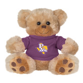 Plush Big Paw 8 1/2 inch Brown Bear w/Purple Shirt-PVAM Texas