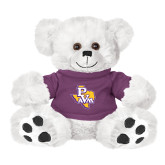Plush Big Paw 8 1/2 inch White Bear w/Purple Shirt-PVAM Texas