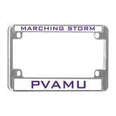 Metal Motorcycle License Plate Frame in Chrome-Marching Storm