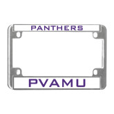 Metal Motorcycle License Plate Frame in Chrome-Panthers