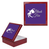 Red Mahogany Accessory Box With 6 x 6 Tile-Black Fox Logo