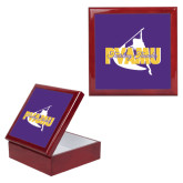 Red Mahogany Accessory Box With 6 x 6 Tile-PVAMU Twirling Thunder Logo