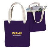 Allie Purple Canvas Tote-PVAMU Twirling Thunder Script