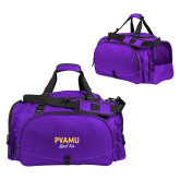 Challenger Team Purple Sport Bag-PVAMU Black Fox Script