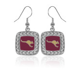 Crystal Studded Square Pendant Silver Dangle Earrings-Roo Icon