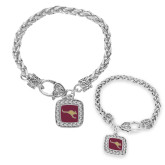 Silver Braided Rope Bracelet With Crystal Studded Square Pendant-Roo Icon