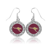 Crystal Studded Round Pendant Silver Dangle Earrings-Roo Icon