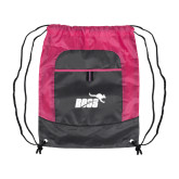 Nylon Pink Raspberry/Deep Smoke Pocket Drawstring Backpack-Primary Mark 1 Color