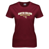 Ladies Maroon T Shirt-Austin College Roos Arched