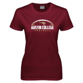 Ladies Maroon T Shirt-Football Arched Design