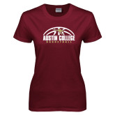 Ladies Maroon T Shirt-Basketball Half Ball Design
