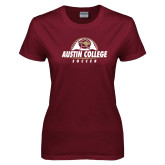 Ladies Maroon T Shirt-Soccer Half Ball Design
