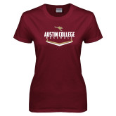 Ladies Maroon T Shirt-Baseball Plate Design