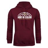 Maroon Fleece Hoodie-Basketball Half Ball Design