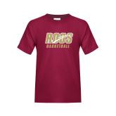 Youth Maroon T Shirt-Basketball