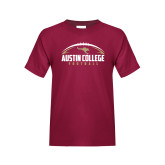 Youth Maroon T Shirt-Football Arched Design