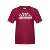 Youth Maroon T Shirt-Basketball Half Ball Design