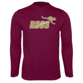 Performance Maroon Longsleeve Shirt-Primary Mark Full Color