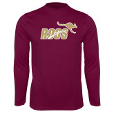 Performance Maroon Longsleeve Shirt-Primary Mark 2 Color