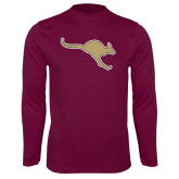 Performance Maroon Longsleeve Shirt-Roo Icon
