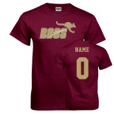 Maroon T Shirt-Primary Mark Full Color, Custom Tee w/ name and #